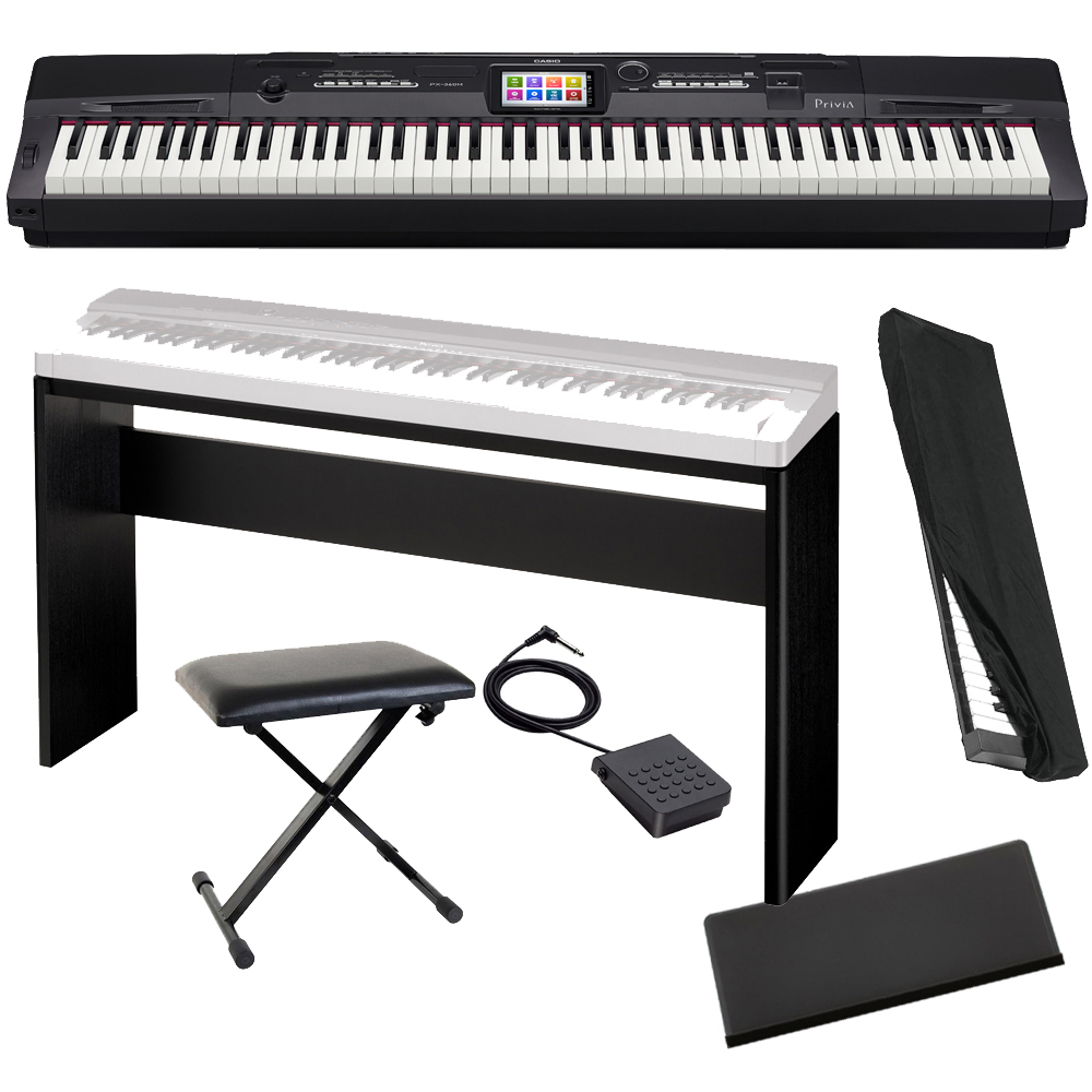 casio privia portable digital piano px 360 88 weighted key with cabinet stand x bench dust. Black Bedroom Furniture Sets. Home Design Ideas