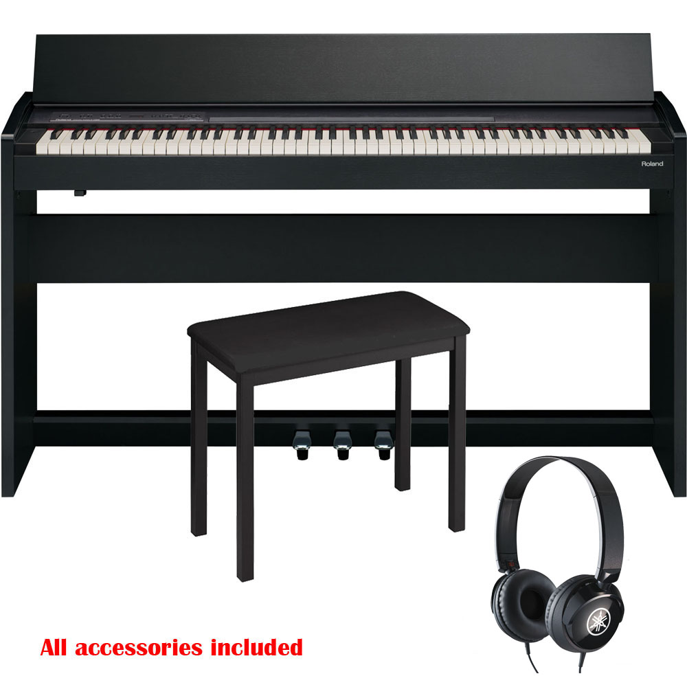 new roland modern compact style digital piano f140r black 88 keys weighted with bench and. Black Bedroom Furniture Sets. Home Design Ideas
