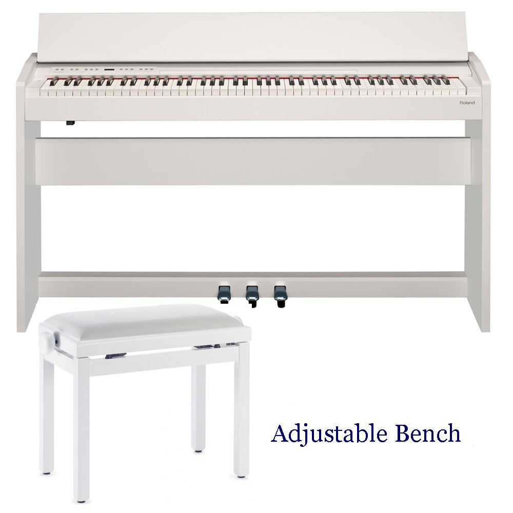 new roland modern compact digital piano f140r white 88 weighted key with stagg adjustable bench. Black Bedroom Furniture Sets. Home Design Ideas