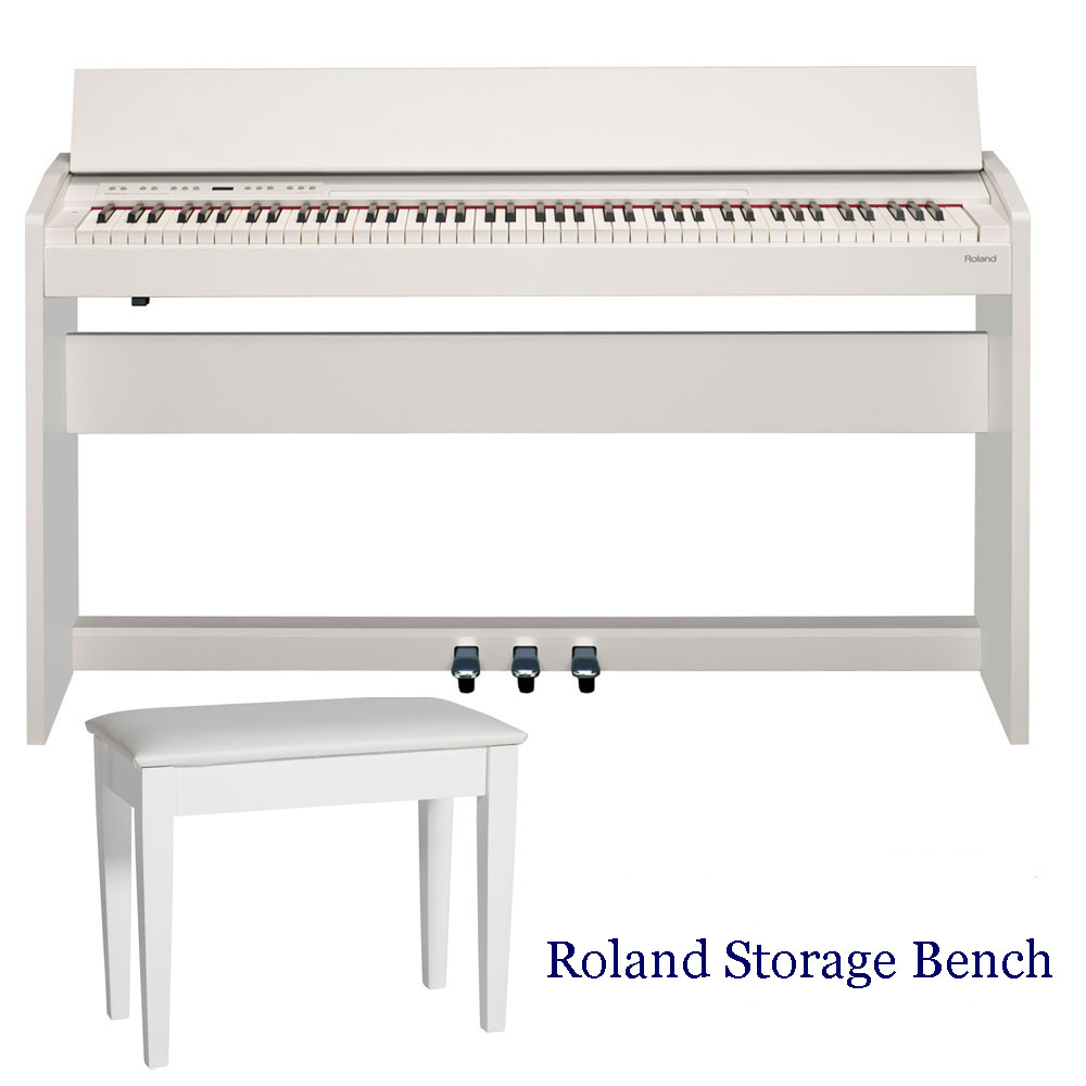 new roland modern compact style digital piano f140r wh 88 keys weighted with roland storage. Black Bedroom Furniture Sets. Home Design Ideas