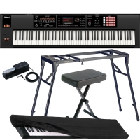 Roland Keyboard FA-08, Music Workstation with 4-legged stand, X Bench, Roland DP-10, Dust Cover