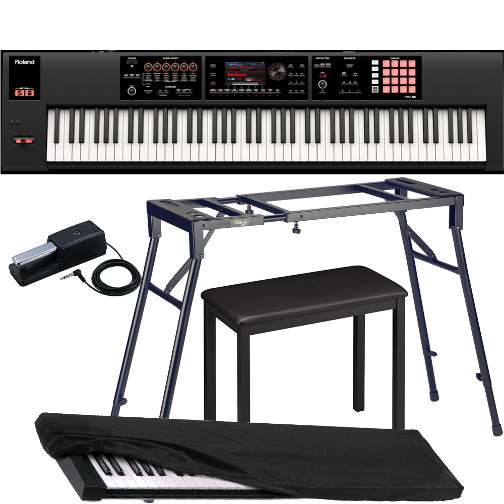 roland keyboard fa 08 music workstation with 4 legged stand 4 legged bench roland dp 10 pedal. Black Bedroom Furniture Sets. Home Design Ideas