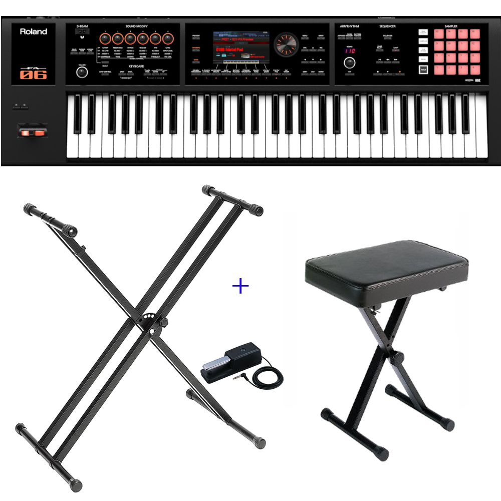 roland keyboard fa 06 61 key music workstation with x stand xbench dp 10 damper pedal las. Black Bedroom Furniture Sets. Home Design Ideas
