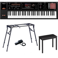 Roland Keyboard FA-06, 61 Key Music Workstation With 4-legged Stand, 4-legged bench, DP-10 Pedal