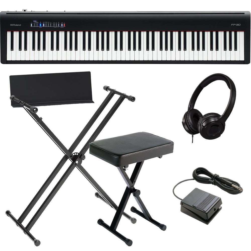 brand new roland fp 30 black digital piano 88 key weighted with x stand x bench and hp las. Black Bedroom Furniture Sets. Home Design Ideas