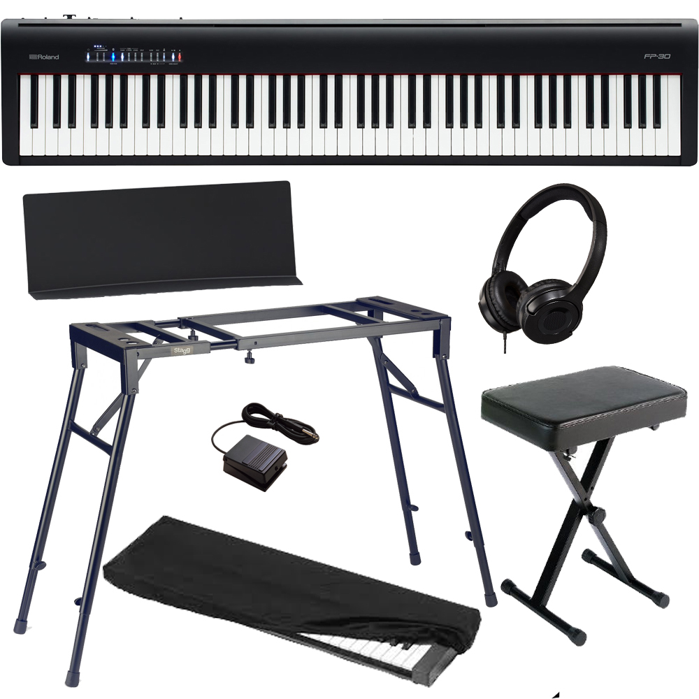 brand new roland fp 30 black digital piano 88 key weighted with 4 legged stand x bench hp d. Black Bedroom Furniture Sets. Home Design Ideas