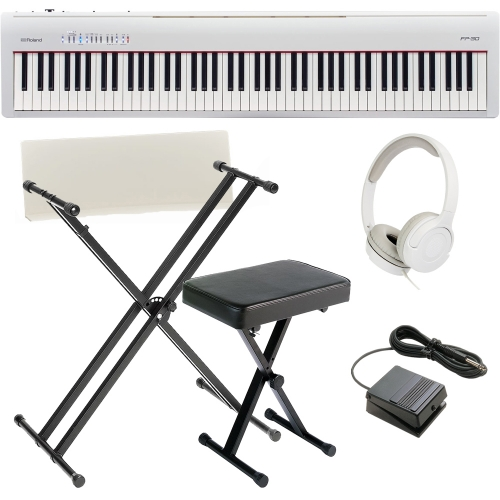 brand new roland fp 30 white digital piano 88 key weighted with x stand x bench and hp las. Black Bedroom Furniture Sets. Home Design Ideas
