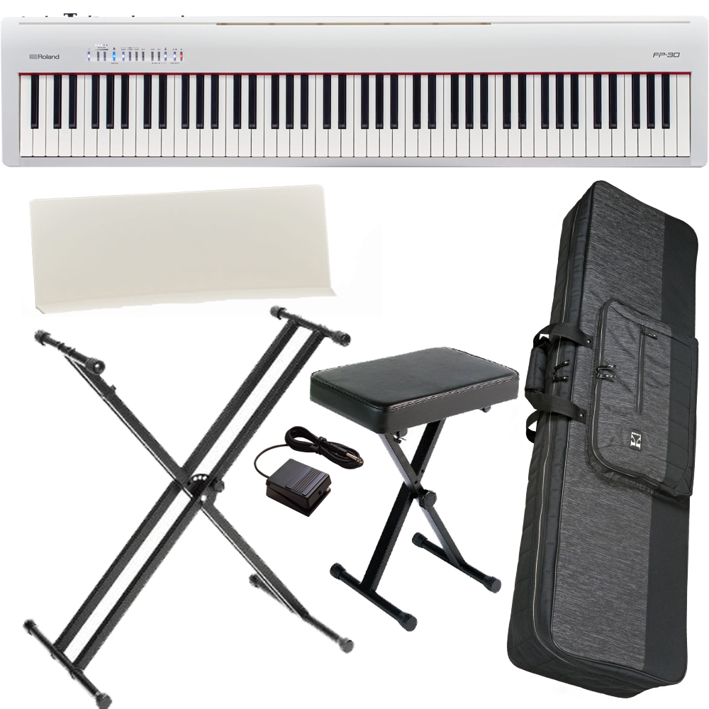 Brand New Roland Fp 30 White Digital Piano 88 Key Weighted With X Stand X Bench Carrying Bag