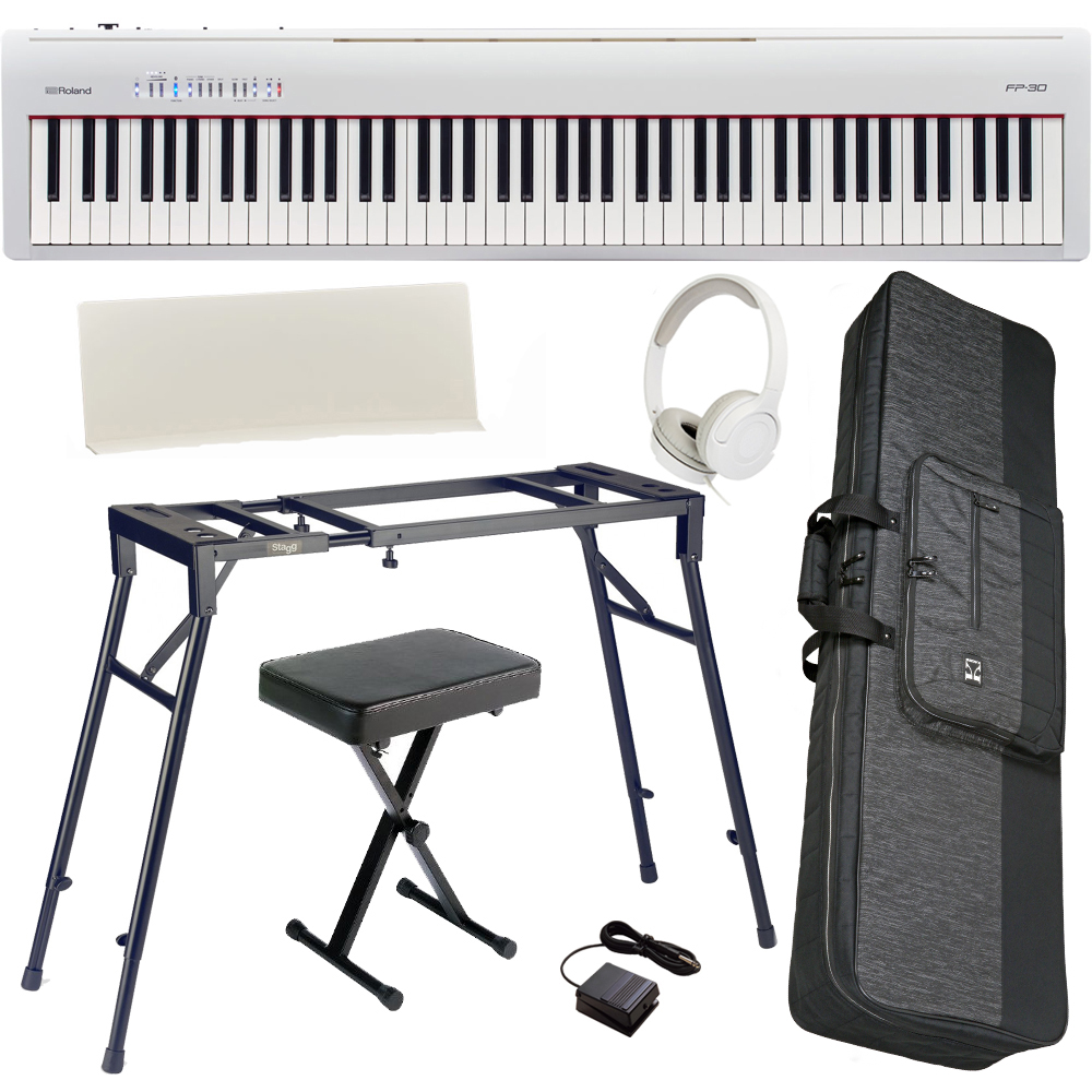 Brand new roland fp 30 white 88 key weighted with 4 legged stand x bench hp and carrying bag 30 bench