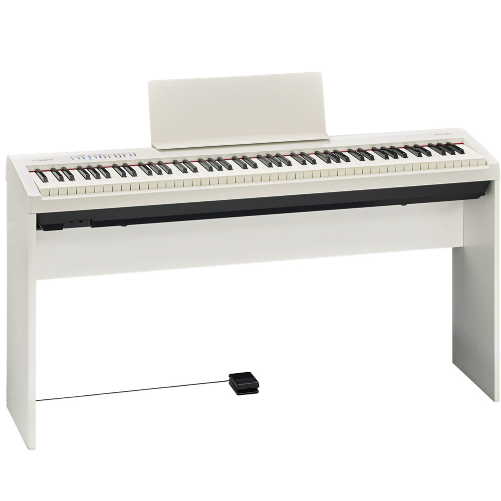 brand new roland fp 30 white digital piano 88 key weighted with matching cabinet stand las. Black Bedroom Furniture Sets. Home Design Ideas