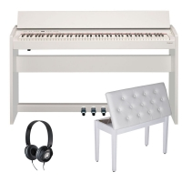 New Roland F140R White  88 weighted key digital Piano with Storage White Bench and Headphones