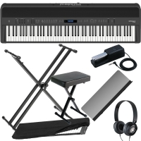 New Roland FP-90 Black Portable Stage Piano 88 Weighted Key with X Stand, X Bench, Dust Cover and Headphones