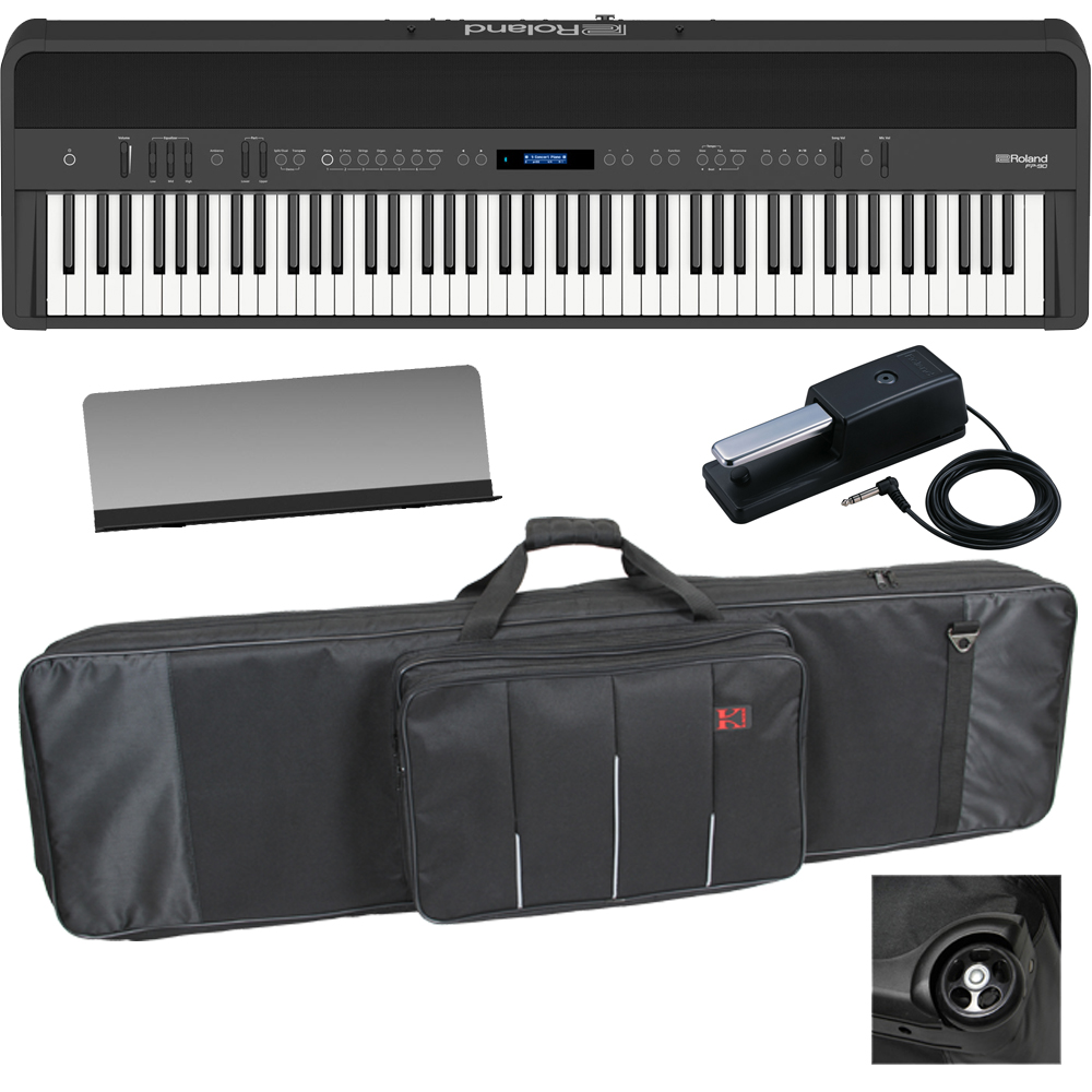 new roland fp 90 black portable stage piano 88 weighted key with wheel keyboard carrying bag las. Black Bedroom Furniture Sets. Home Design Ideas
