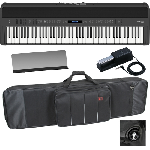 New Roland FP-90 Black Portable Stage Piano 88 Weighted Key with Wheel Keyboard Carrying Bag