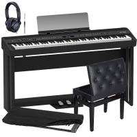 New Roland FP-90 Black Portable Stage Piano 88 Weighted Key with Cabinet Stand, 3 Pedal, Adjustable Storage Bench, Dust Cover and Headphones