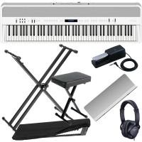 New Roland FP-90 White Portable Stage Piano 88 Weighted Key with X Stand, X Bench, Dust Cover and Headphones.