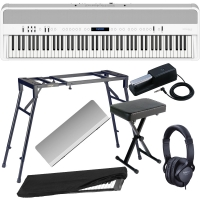 New Roland FP-90 White Portable Stage Piano 88 Weighted Key with 4-legged Stand, X Bench, Dust Cover, Headphones.