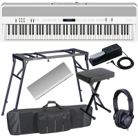 New Roland FP-90 White Portable Stage Piano 88 Weighted Key with 4 Legged Stand, X Bench, Keyboard Carrying Bag and Headphones