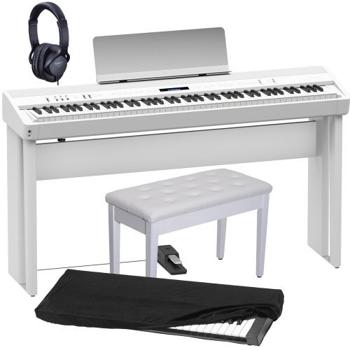 New Roland FP-90 White Portable Stage Piano 88 Weighted Key with Cabinet Stand, White Storage Bench, Dust Cover and Headphones