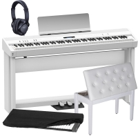 New Roland FP-90 White Portable Stage Piano 88 Weighted Key with Cabinet Stand, 3 Pedal, White Storage Bench, Dust Cover and Headphones