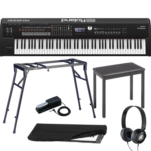 New Roland RD 2000 Portable Stage Piano 88 weighted key with 4-Legged stand, 4-Legged Bench, Pedal, Headphones, Dust Cover