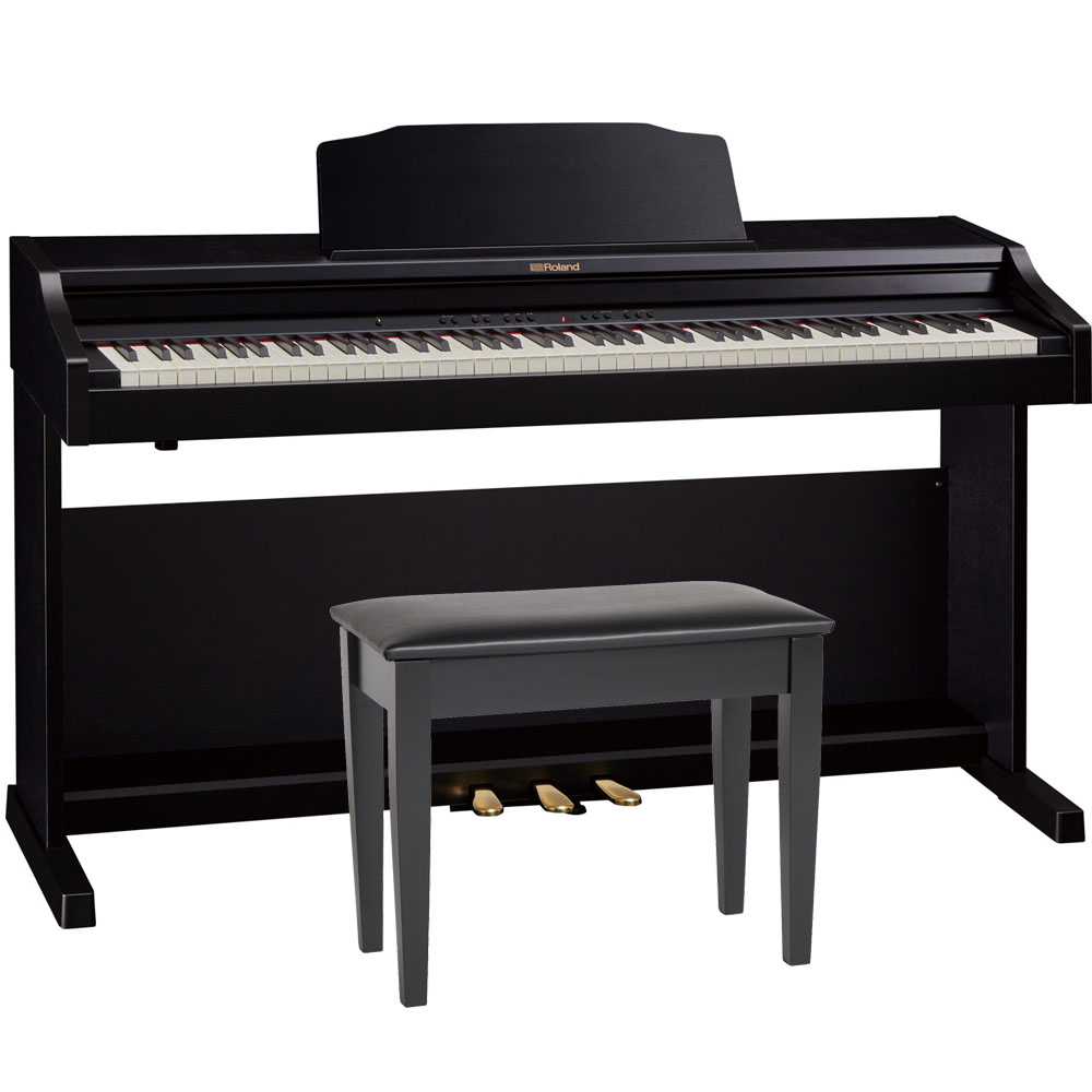 roland rp501r cbc black digital piano 88 key weighted with matching bench las vegas music. Black Bedroom Furniture Sets. Home Design Ideas