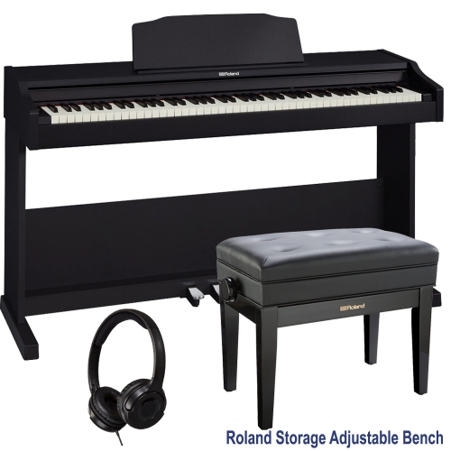Roland RP-102 Home Style Digital Piano Black 88 Key Weighted With Roland Storage Adjustable Bench and Headphones