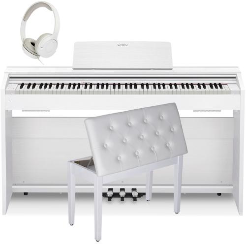 Casio PX870WE  Privia  Home Digital Piano 88 key weighted with White Storage Bench and Stereo Headphones