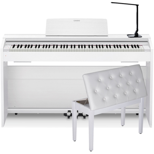 Casio PX870WE Home Digital Piano 88 key weighted with White Storage Bench and Multipurpose  LED Lamp