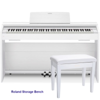Casio PX870WE  Privia  Home Digital Piano 88 key weighted with Roland RPB-100WH Storage Bench