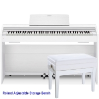 Casio PX870WE Home Digital Piano 88 key weighted with Roland RPB-400WH Storage Bench