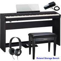 New Roland FP-60 Black Stage Digital Piano 88 Key Weighted With KSC-72 Stand, KPD-90 3 Pedal, Headphones, Roland Storage Bench