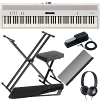 Roland FP-60 White Stage Digital Piano 88 Key Weighted with X Stand, X Bench, Headphones, Dust Cover
