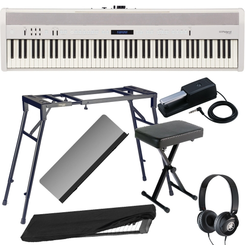 Roland FP-60 White Stage Digital Piano 88 Key Weighted With 4-Legged Stand, X Bench, Dust Cover, Headphones
