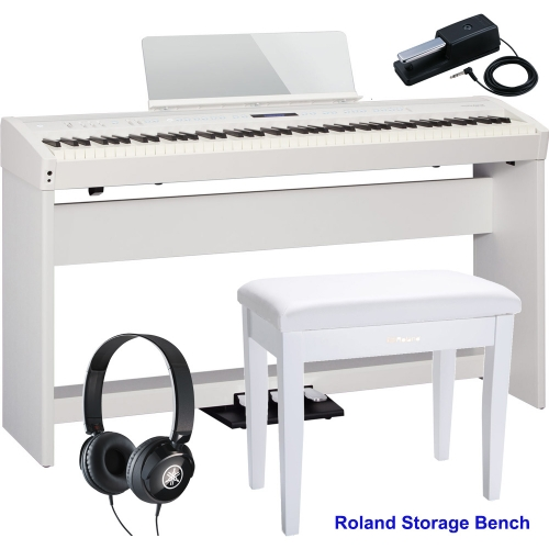 New Roland FP-60 White Stage Digital Piano 88 Key Weighted With KSC-72 Stand, KPD-90 3 Pedal, Headphones, Roland Storage Bench