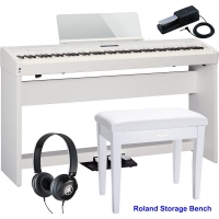 RolandRoland FP-60 White Stage Digital Piano 88 Key Weighted With KSC-72 Stand, KPD-90 3 Pedal, Headphones, Roland Storage Bench