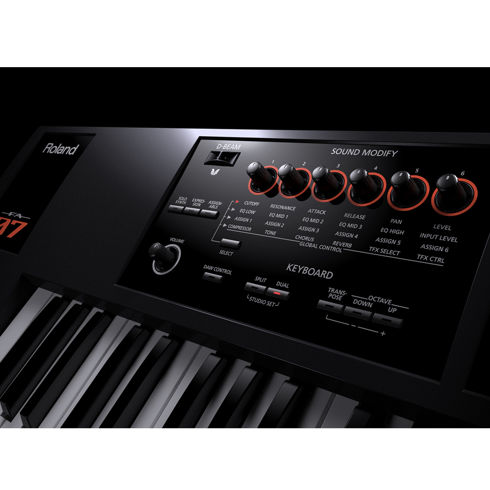 roland fa 07 music workstation 76 note semi weighted velocity keyboard las vegas music. Black Bedroom Furniture Sets. Home Design Ideas