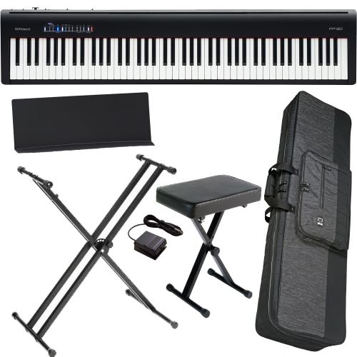brand new roland fp 30 black digital piano 88 key weighted with x stand x bench carrying bag. Black Bedroom Furniture Sets. Home Design Ideas