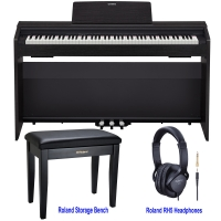 Limited Time Offer - Casio PX870BK Home Digital Piano 88 key weighted with Roland RPB-100CB Storage Bench and Roland RH5 Headphones