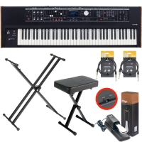 Roland V-Combo VR-730 Live Performance Keyboard with X Stand, X Bench, Sustain Pedal, Two Stagg Audio Cable (10ft)