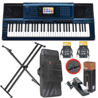 Casio MZ-X500 Arranger workstation Keyboard with Kaces Carrying Bag, X Stand, Sustain Pedal, Two Audio Cable (10ft)