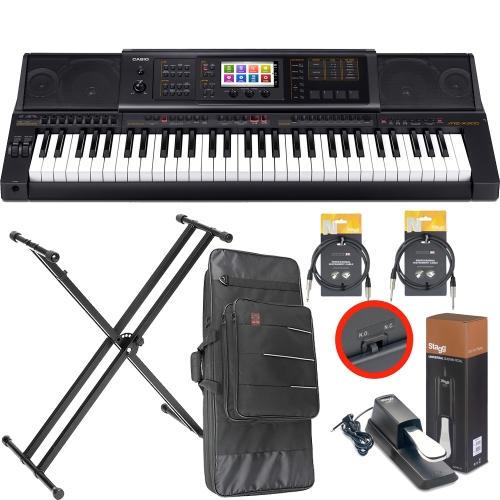 Casio MZ-X300 Arranger workstation Keyboard with Kaces Carrying Bag, X Stand, Sustain Pedal, Two Audio Cable (10ft)