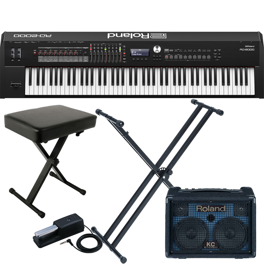 new roland rd 2000 portable stage piano 88 weighted key with roland kc220 amp x stand x bench. Black Bedroom Furniture Sets. Home Design Ideas