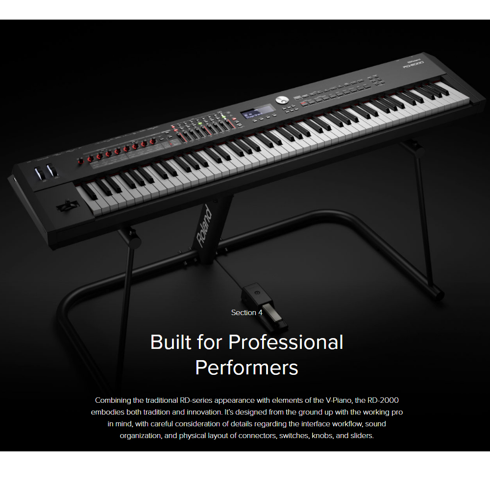 new roland rd 2000 portable stage piano 88 weighted key with x stand x bench pedal and. Black Bedroom Furniture Sets. Home Design Ideas