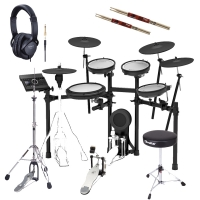 Roland TD-17KVX V‑Drums Electronic Drum Kit With Hi Hat Stand, Kick Pedal, Throne, Headphones, Stick X2