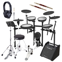 Roland TD-17KVX V‑Drums Electronic Drum Kit With Hi Hat Stand, Roland Monitor, Kick Pedal, Throne, Headphones, Stick X2