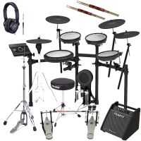 Roland TD-17KVX V‑Drums Electronic Drum Kit With Hi Hat Stand, Roland Monitor, Kick Double Pedal, Throne, Headphones, Stick X2