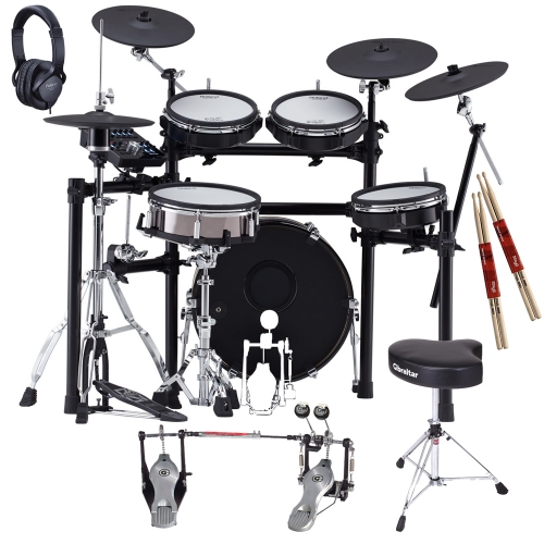 NEW Roland TD-25KVX V-Drums Electronic Drum Kit with Gibraltar (Snare Stand, Double Kick Pedal, Hi Hat Stand, Throne) Roland Headphones, 2 Sticks