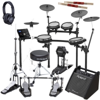New Roland TD-25KV Electronic V-Drums Kit with Roland (Hi-Hat stand, Throne, Double Kick Pedal, Headphones, Monitor), 2 Sticks