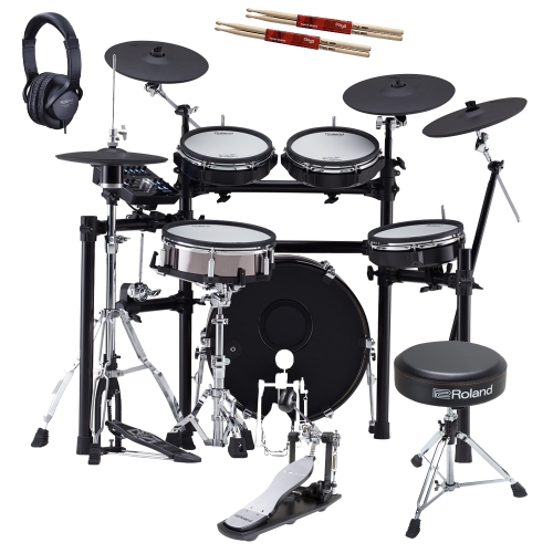 New Roland TD-25KVX V-Drums Electronic Drum Kit with Roland (Kick Pedal, Hi Hat Stand, Throne, Headphones), Gibraltar Snare Stand, 2 Sticks
